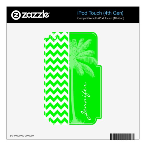 Electric Green Chevron; Summer Palm iPod Touch 4G Skin