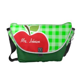 Electric Green Gingham; Apple Courier Bag