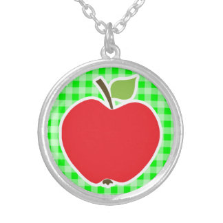 Electric Green Gingham Apple Custom Necklace