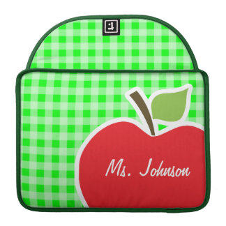 Electric Green Gingham; Apple Sleeve For MacBook Pro