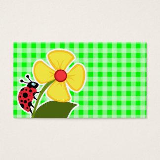 Electric Green Gingham;; Ladybug Business Card