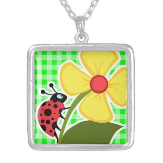 Electric Green Gingham Ladybug Custom Necklace