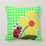 Electric Green Gingham;; Ladybug Pillow