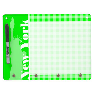Electric Green Gingham; New York Dry Erase Board With Keychain Holder