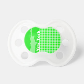 Electric Green Gingham New York Baby Pacifiers