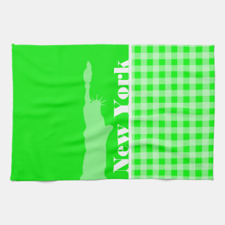 Electric Green Gingham; New York Towels