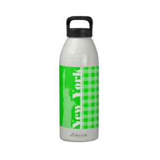 Electric Green Gingham; New York Water Bottles