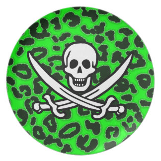 Electric Green Leopard Animal Print Jolly Roger Party Plate