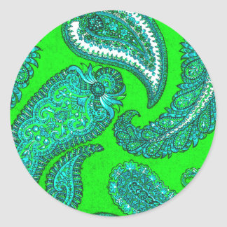 Electric Green Paisley Envelope Seal Sticker