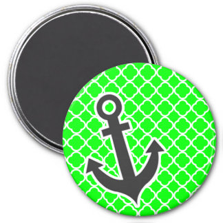 Electric Green Quatrefoil; Anchor 3 Inch Round Magnet