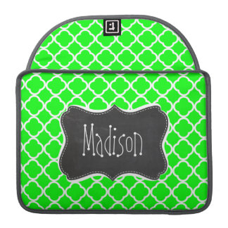 Electric Green Quatrefoil; Retro Chalkboard MacBook Pro Sleeve