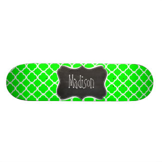 Electric Green Quatrefoil; Retro Chalkboard Skateboard Deck
