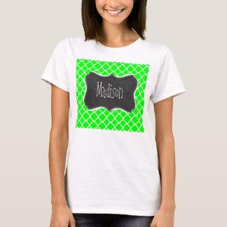 Electric Green Quatrefoil; Retro Chalkboard T-Shirt