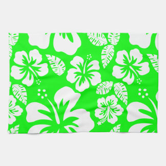 Electric Green Tropical Hibiscus Hand Towel