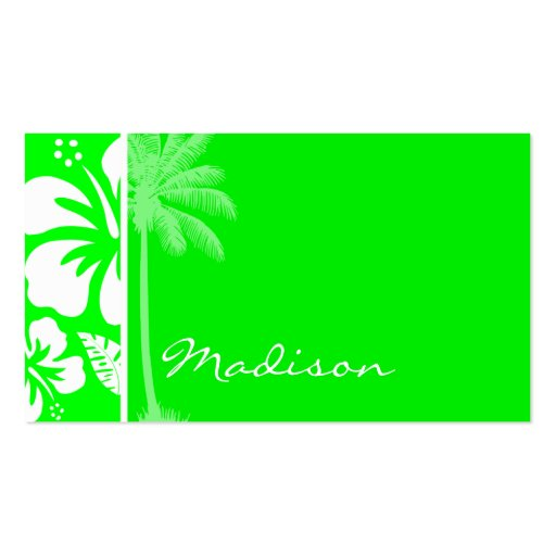 Electric Green Tropical Hibiscus; Palm Business Card Templates