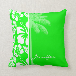 Electric Green Tropical Hibiscus; Palm Pillow