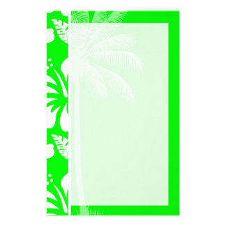 Electric Green Tropical Hibiscus; Palm Stationery