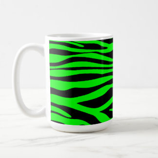 Electric Green Zebra Stripes Animal Print Coffee Mug