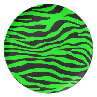 Electric Green Zebra Stripes Animal Print Melamine Plate