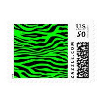 Electric Green Zebra Stripes Animal Print Postage