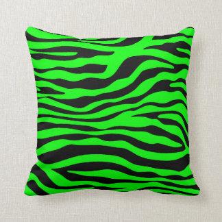 Electric Green Zebra Stripes Animal Print Throw Pillow