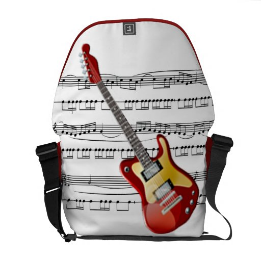 Electric Guitar 02 w/Sheet Music Background ~ Rick Courier Bag