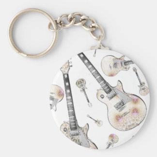 Electric Guitar 08.jpg Basic Round Button Keychain