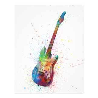 Electric Guitar Abstract Watercolor Flyer