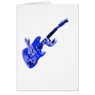 Electric Guitar and hands, blue version Card