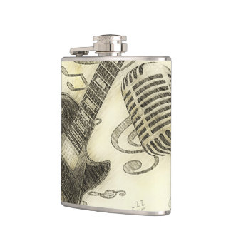 Electric Guitar and Microphone Vintage Flask
