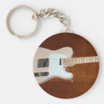 Electric Guitar Basic Round Button Keychain
