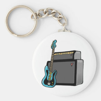 electric guitar bass and amp keychain