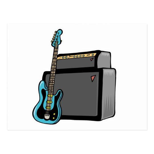electric guitar bass and amp postcard