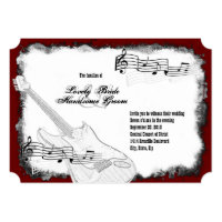 Electric Guitar Black Red White Music Wedding Invitation