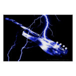 Electric Guitar Blue Poster