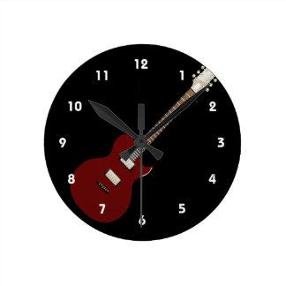 electric guitar burgundy.png round clock