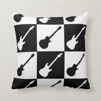 Electric Guitar Checkerboard Throw Pillow