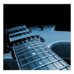 Electric Guitar Close Up - Blue Print