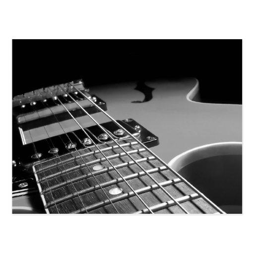 Electric Guitar Close Up - Grey B&W Post Cards