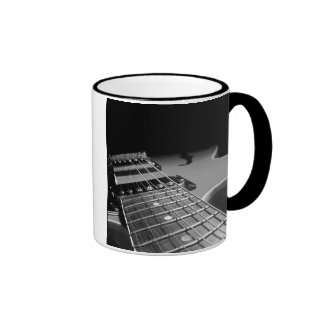 Electric Guitar Close Up - Grey B&W Ringer Mug