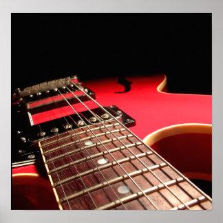 Electric Guitar Close Up - Original Red Poster