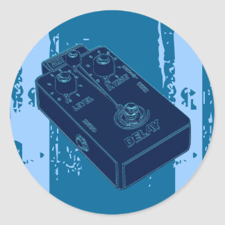 Electric Guitar Delay Pedal Black Blue Classic Round Sticker