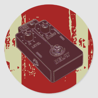 Electric Guitar Delay Pedal Brick Red Classic Round Sticker