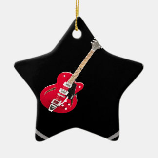 """Electric Guitar"" design gifts and products Double-Sided Star Ceramic Christmas Ornament"