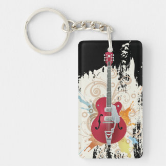 Electric Guitar Design Keychain
