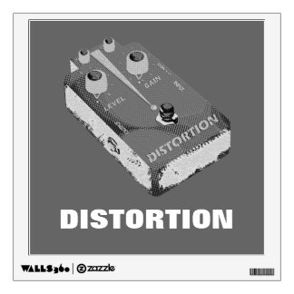 Electric Guitar Distortion Pedal Black & Grey Wall Sticker