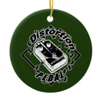 Electric Guitar Distortion Pedal - Black & White Ceramic Ornament