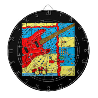 electric guitar drumset abstract collage red.png dart board