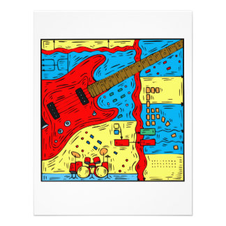 electric guitar drumset abstract collage red.png custom invitations