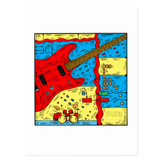 electric guitar drumset abstract collage red.png postcard